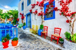 Beautiful street view in Kos Island. Kos Island is populer tourist destination in Greece.
