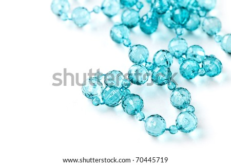 Beautiful string of beads, necklace isolated on white