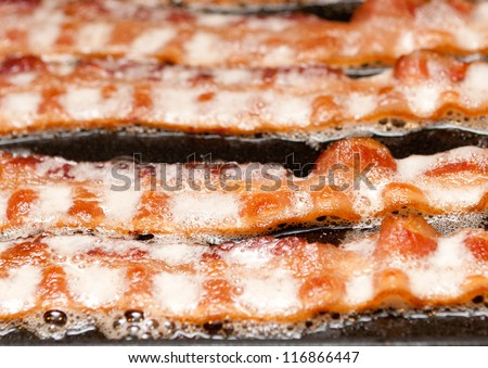 beautiful strips of bacon frying in their own delicious fats. Bacon is the candy of meat, an honorary vegetable.