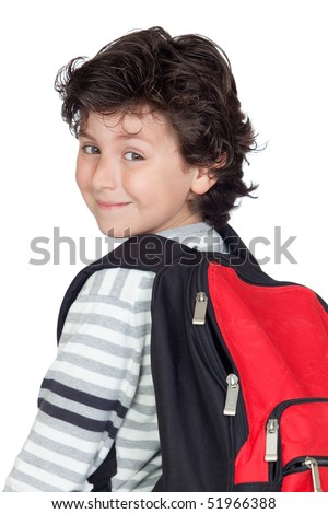 Beautiful student child with heavy backpack isolated on white background