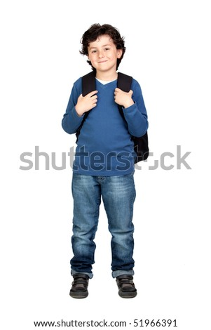 Beautiful student child with heavy backpack isolated on white background - stock photo