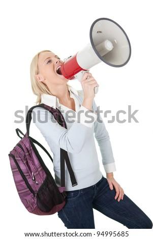 Beautiful student girl shouting in megaphone