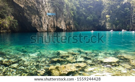 Beautiful Stunning Blue Lake in North Kolaka, Southeast Sulawesi. This lake is a beautiful place with a blend of mountain tourism and beach tourism.