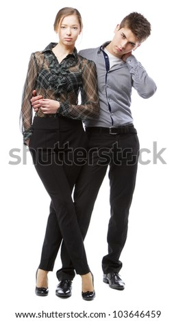 Beautiful stylish couple, isolated on white background