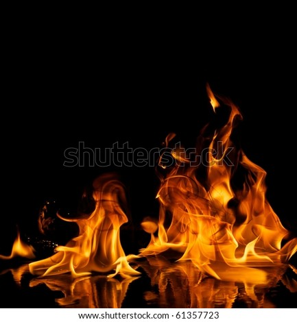 Beautiful stylish fire flames reflected in water #61357723