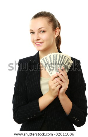 Beautiful success businesswoman holding dollar notes isolated on white  Image