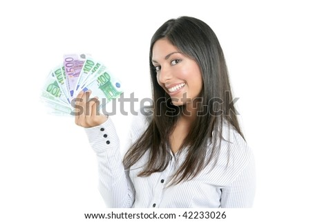 Beautiful success businesswoman holding Euro notes isolated on white