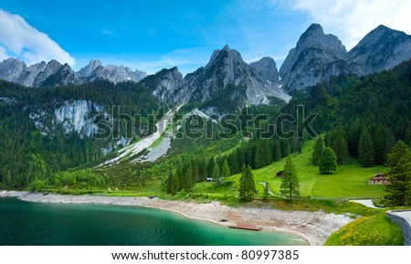 Beautiful summer Alpine  lake Gosausee view (Austria)
