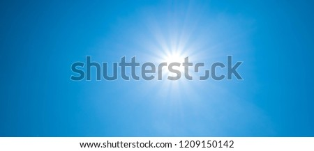 Beautiful summer background with sunlight and blue sky. #1209150142