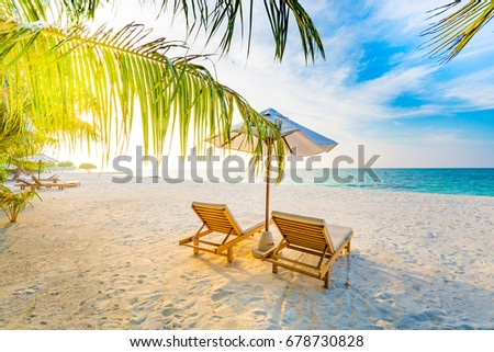 Beautiful summer beach. Sunny beach landscape. Summer travel concept and holiday vacation design. #678730828