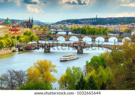 Beautiful summer cityscape, Vltava river and old city center, Prague, Czech Republic, Europe #1032665644
