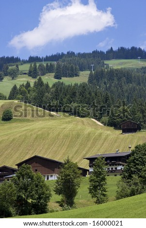 Beautiful summer day landscape in Austrian alps in Saalbach, near Salzburg, Austria