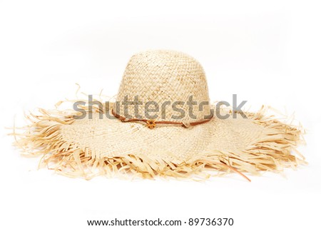 Beautiful Summer Hat (isolated on white background) - stock photo
