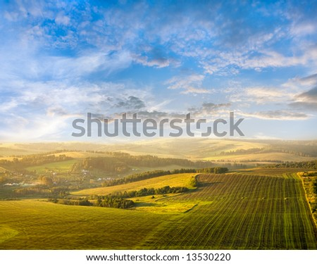 beautiful summer landscape  from a bird's-eye view