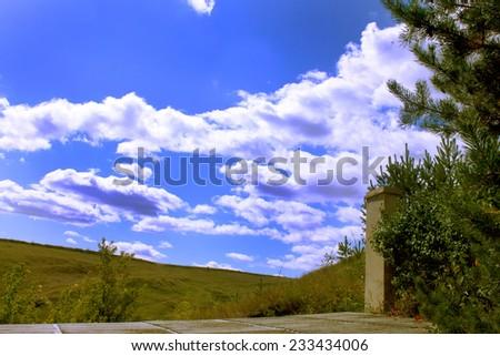 Beautiful summer landscape-horizon line between heaven and Earth