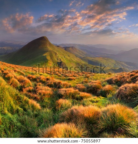 Beautiful summer landscape in the mountains. Sunrise #75055897