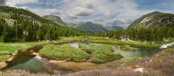 Beautiful summer landscape,Rivers and valleys of the Altai Mountains, Russia, Siberia, Katun ridge.