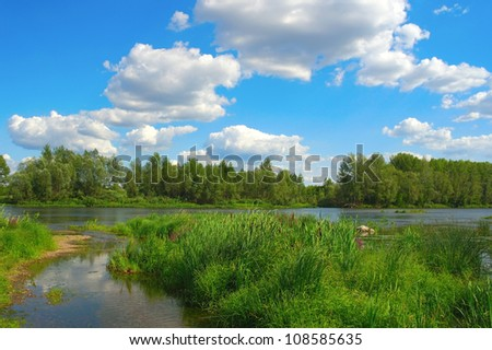Beautiful summer landscape with river, forest and blue sky