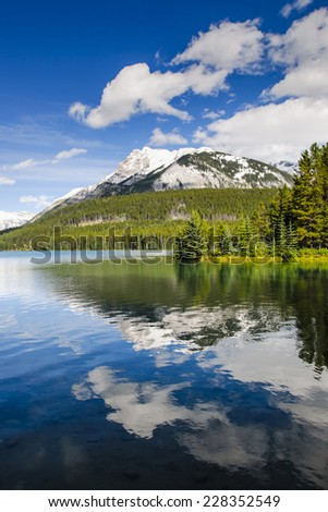 Beautiful summer landscapes of Two Jack Lake in Banff National Park Alberta Canada