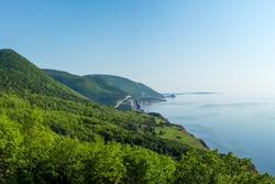 Beautiful summer morning views of Cape Breton Islands along the world famous and most scenic Cabot Trail route, Cape Breton, Nova Scotia.