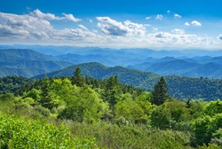 Beautiful summer mountain landscape. Blue sky with  clouds over layers of green hills and  mountains.  Copy space. North Carolina. Blue Ridge Parkway.USA.