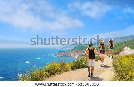 Beautiful summer mountains landscape,  Family on hiking trip , Pacific Ocean, Big Sur, California, USA