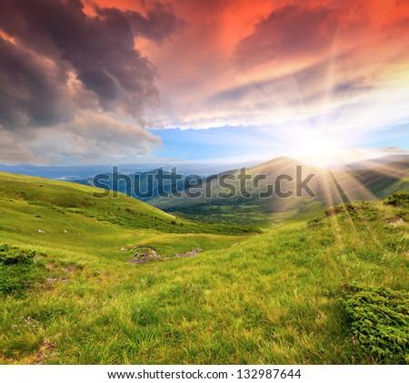 Beautiful summer sunrise in the Carpathian mountains. Ukraine