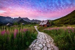 Beautiful summer sunrise on Gasienicowa valley in Polish Tatra mountains