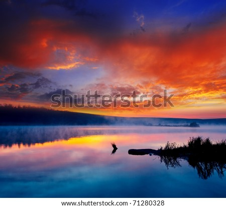 Beautiful summer sunset in the lake. HDR image