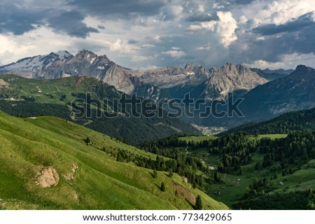 Beautiful summer view of the Marmolada massif. Dolomites. Italy. #773429065