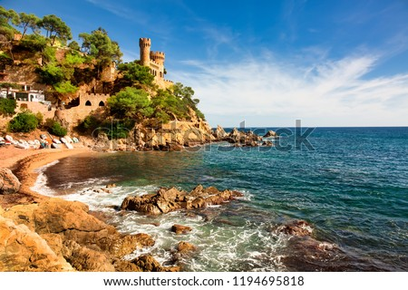 Beautiful summertime travel destination on Balearic coast of Spain, the town of Lloret de Mar #1194695818