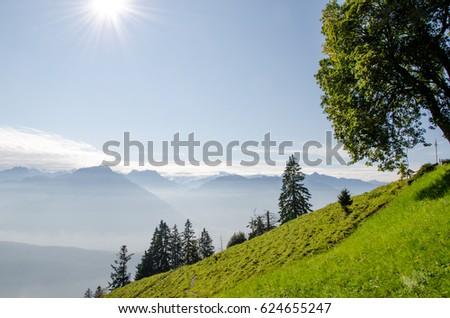Beautiful sun and mountains at Pilatus, Switzerland #624655247