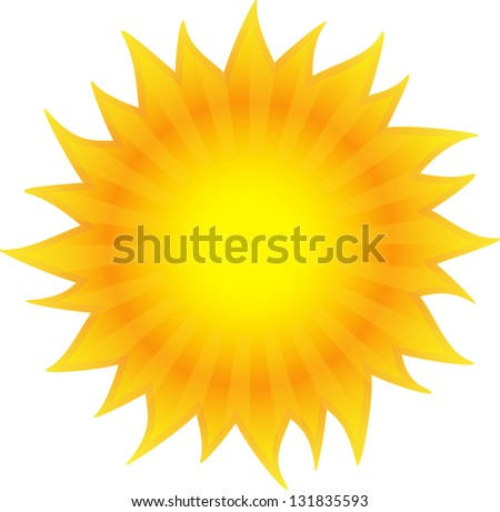 Beautiful sun is shining. Isolated on white background