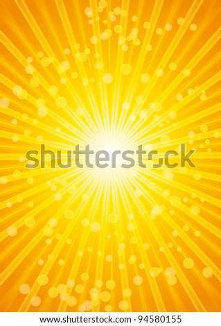 Beautiful sunburst heat wave background with lens. A4 Format. - stock photo
