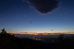 Beautiful sundown with clear sky above the land, Castelmonte, view over Udine city, FVG region, Italy