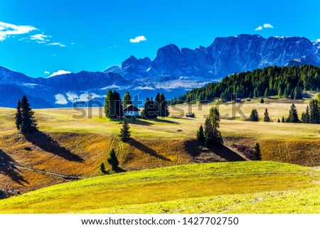 Beautiful sunny day for hiking and taking photos. Alpine shepherd's hut. Alpe di Siusi is charming plateau in the Dolomites, Italy. The concept of walking, ecological and photo tourism