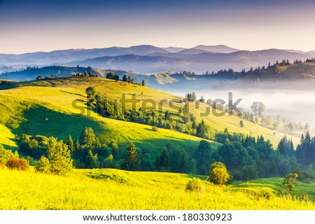 Beautiful sunny day is in mountain landscape. Carpathian, Ukraine, Europe. Beauty world. - Shutterstock ID 180330923