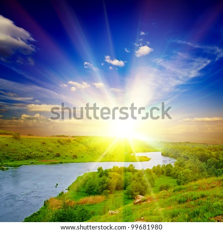 beautiful sunny landscape with field and forest