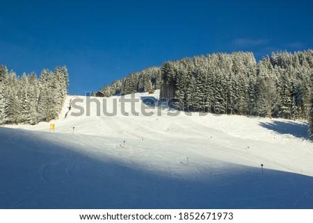 Beautiful sunny morning over empty ski slope in Filzmoos, Salzburg county (Austria) Сток-фото ©