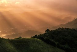 Beautiful sunrays after rainfall over mountain, nature view of moutain, moutain view