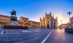 Beautiful sunrise at Duomo di Milano church in Milan Italy.