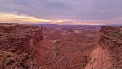 Beautiful sunrise at Mesa Arch in Canyonlands National Park in U