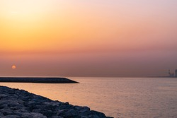 Beautiful Sunrise at the Kuwait Costal Area with rocks