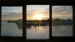 beautiful sunrise from the windown - image