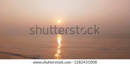 Beautiful sunrise in beach #1282431808