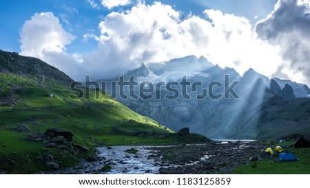 Beautiful sunrise in Himalaya Range mountain landscape of Sonamarg, Jammu and Kashmir state, India. The  Lake river in the Indian Himalaya range.