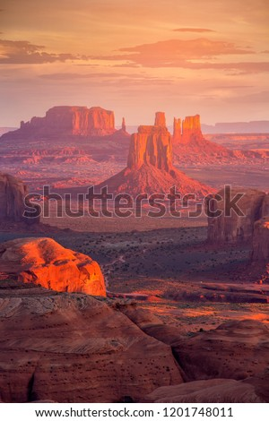 Beautiful Sunrise in Hunts Mesa navajo tribal majesty place near Monument Valley, Arizona, USA #1201748011