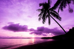 Beautiful sunrise in Koh Payam island, Thailand. Purple filter.