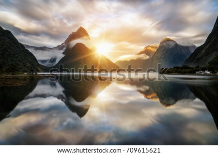 Beautiful sunrise in Milford Sound, New Zealand. #709615621