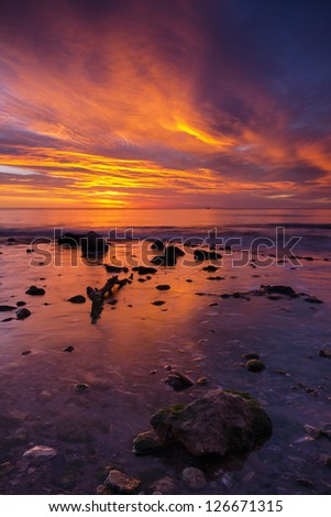 Beautiful sunrise in the coastline of Almer�­a, Spain